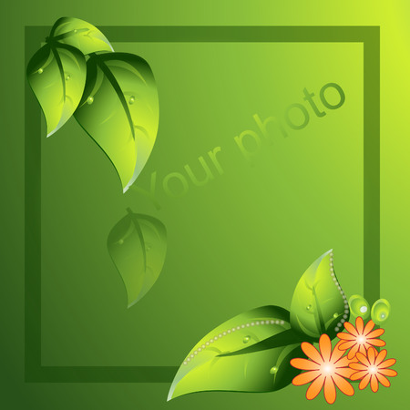 Frame for photo green leaf Ilustrace