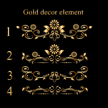 Stock vector 4 gold decorative elements