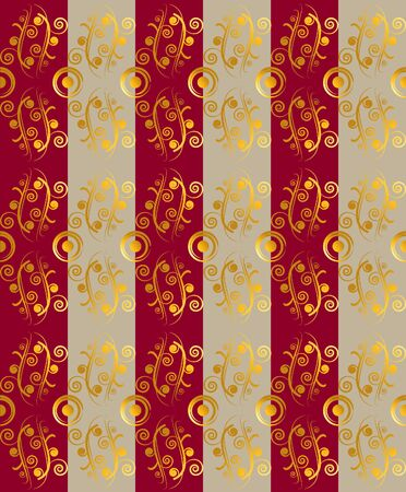 alternate: Vector illustration. Red and beige stripes alternate. Above the stripes is a golden floral ornament. Seamless ornament. Vertical arrangement of the ornament