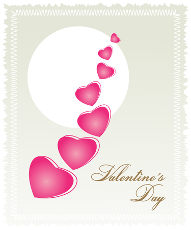 pink hearts: Vector illustration. Postcard to the feast of St. Valentine. On a light beige background white circle of the sun. Pink hearts are flying chain diagonally. Font greeting inscription in the lower right corner