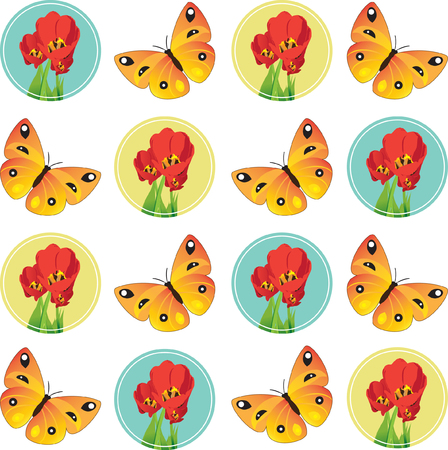 butterflies for decorations: Vector illustration. Seamless composition consisting of figures of yellow butterflies and red tulips in circles. Isolated on a white. Without joints
