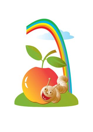 Vector Illustration of red apple, merry worm and rainbow is in sky. Isolated on a white. Illustration