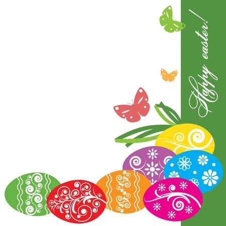 Vector illustration. Decorative easter eggs of different colors with ornament on the background of green and white background. Butterflies and text. Congratulatory text