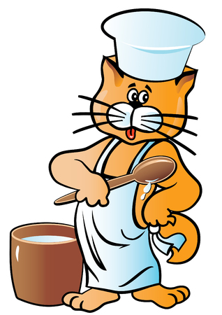 deliciously: Vector illustration. Character Cat cook in the cap and apron. isolated on white.