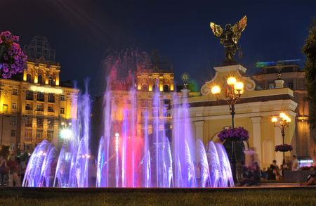 Light-musical fountain in Kiev on Independence Square. Summer evening Stock Photo