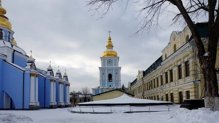 The bell tower of St. Michaels Golden-Domed Cathedral in Kiev on a winter day.