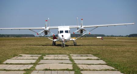 KIEV. UKRAINE. August 26, 2018. An 28 aircraft standing on the airfield on a summer sunny day Редакционное