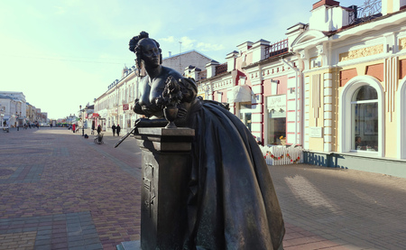TAMBOV RUSSIA. October 23, 2018 Monument to Tambov Treasurer Avdotya Nikolaevna, the main character of Lermontov s poem Tambov Treasurer on Pedestrian Street in Tambov,