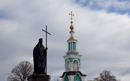 Tambov, Russia. March 02, 2019. Monument to Saint Pitirim on Cathedral Square in Tambov, The author of the monument is the artist A. Rukavishnikov.