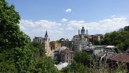 Kiev. Ukraine 1.05.2018 View of the famous place in Kiev Andrews descent from the Castle Hill on a sunny summer day