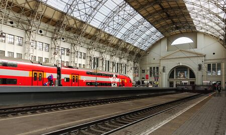 Moscow, Russia. April 14, 2019 The interior of the building of the Kiev railway station in Moscow