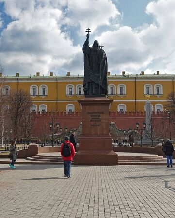 Moscow, Russia. April 14, 2019 Monument to Patriarch Hermogenes in Moscow. Established in 2013 in the Alexander Garden. Sculptor S. A. Shcherbakov