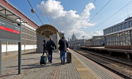 Moscow, Russia. April 14, 2019 Railway platform at the Kiev railway station in Moscow