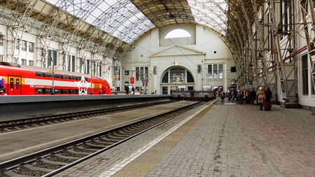 Moscow, Russia. April 14, 2019 The interior of the Kiev station in Moscow. The interior of the Kiev station and in Moscow. Double-deck electric train