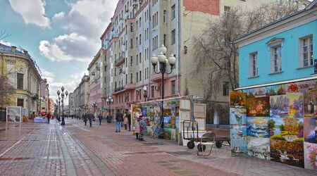 Moscow, Russia. April 14, 2019 Spring morning on the Arbat in Moscow