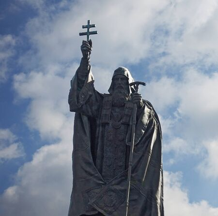 Moscow, Russia. April 14, 2019 Monument to Patriarch Hermogenes in Moscow in the Alexander Garden close up Редакционное