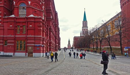 Moscow, Russia. April 14, 2019 View from Manezh Square to the Kremlin Passage and Moscow Kremlin Редакционное