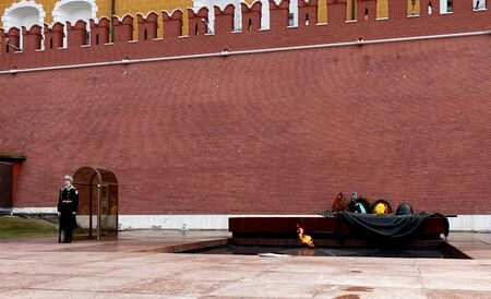 Moscow, Russia. April 14, 2019 Eternal Flame near the Kremlin wall in Moscow