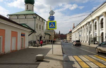 Moscow, Russia. April 7, 2019 Varvarka street in the historical center of Moscow. Church of Maxim the Blessed Редакционное