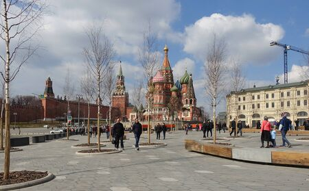 Moscow, Russia. April 14, 2019 Vasilyevsky Square in Moscow in spring. View of the Kremlin and St. Basils Cathedral