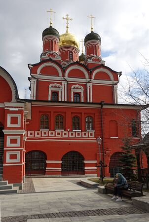 Moscow, Russia. April 7, 2019 The building of the Cathedral in the name of the Icon of the Mother of God the Sign on Varvarka