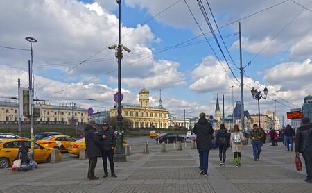 Moscow, Russia. April 14, 2019 View of the Leningrad and Yaroslavl stations in Moscow on a spring sunny day. Text Translation: Leningrad Station, Yaroslavl Station Редакционное