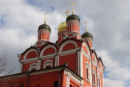 Domes of the Cathedral of the Icon of the Mother of God on Varvarka Street in Moscow Russia