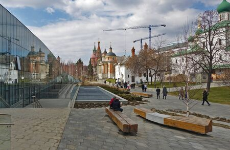 Moscow, Russia. April 14, 2019 Patriarchal Compound in Zaryadye, people walk in the center of historic Moscow.