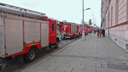 Moscow, Russia. April 14 2019 Fire trucks on the street Редакционное
