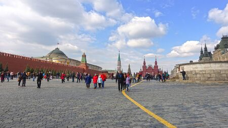 Moscow, Russia. April 14, 2019 People in Red Square on a sunny April day