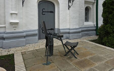Kyiv. Ukraine. may 11, 2019 Sculpture easel Shevchenko in Kiev-Pechersk Lavra. Installed on the places from which the famous poet and artist Taras Shevchenko painted his picture