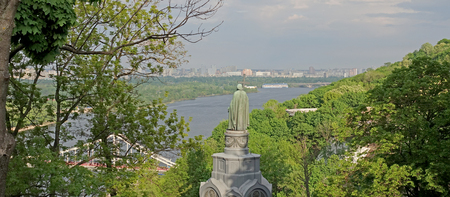 View of the Dnieper River and the Monument to Prince Vladimir in Kiev on a spring day Фото со стока