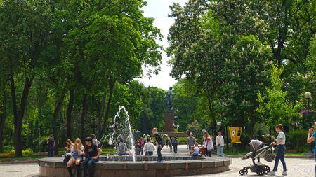 Kiev. Ukraine. May 16, 2019 People near the fountain in Kiev in Shevchenko Park on a spring day