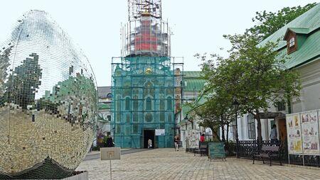 Kiev. Ukraine. May 16, 2019 Restoration of the Trinity Gate Church in Kiev Pechersk Lavra