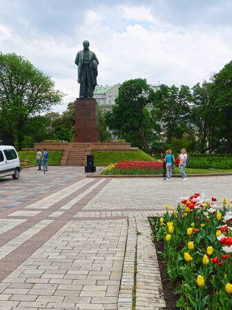 Kiev. Ukraine. May 16, 2019 In Kiev park near the monument to Taras Shevchenko Редакционное