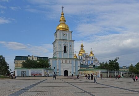 Kiev. Ukraine. may 11, 2019 St. Michaels Golden-Domed Cathedral against the sky Редакционное