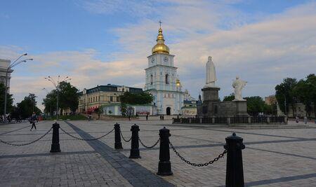Kiev. Ukraine. may 11, 2019 Evening on Mikhaylovskaya Square in Kiev. St. Michaels Golden-Domed Cathedral, Monument to Princess Olga