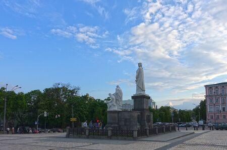 Kiev. Ukraine. May 16, 2019 Monument to Princess Olga in Kiev. St. Michaels Square