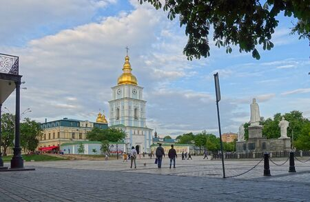 Kiev. Ukraine. may 11, 2019 Evening on Mikhaylovskaya square in Kiev. View of the Michaels Golden-domed Cathedral