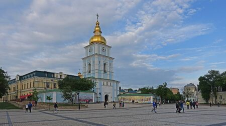 Kiev. Ukraine. may 11, 2019 The bell tower of St. Michaels Golden-Domed Cathedral in Kiev Редакционное