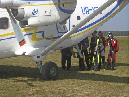 Kiev. Ukraine. August 26 2018 Skydiving. Boarding a group of athletes on a plane
