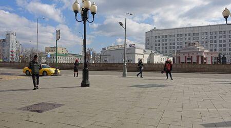 Moscow, Russia. April 7, 2019 Arbat Square in Moscow. Moscow cinema Artistic. Arbat metro station Редакционное