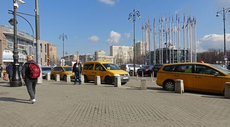 Moscow, Russia. April 7 2019 Europe Square in Moscow, taxi rank at the Kiev station Редакционное