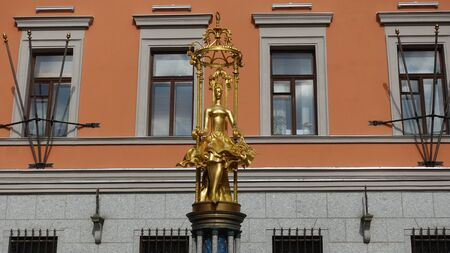 Moscow, Russia. April 7 2019 Monument to Princess Turandot in Moscow on the Arbat The monument is installed in front of the theater named after Evgeny Vakhtangov The fountain was installed in 1997 in honor of the play Princess Turandot