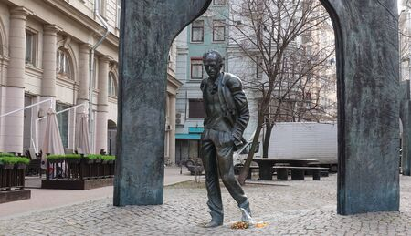 Moscow, Russia. April 7 2019 Monument to Bulat Okudzhava in Plotnikov Lane. Monument created by sculptor Georgy Frangulyan
