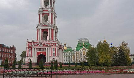 The bell tower of the Kazan Theotokos Monastery and the Theological Seminary building in Tambov 写真素材