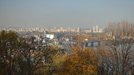Panorama of the autumn Podol in Kiev on a sunny day from above Фото со стока