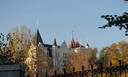 Roofs With spiers of the Kiev Academic Puppet Theater, autumn sunny day