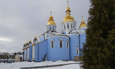 Golden-domed Cathedral of St. Michael's Monastery in Kiev in winter