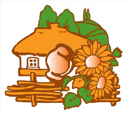 An old Little Russian rural house with a thatched roof. In front of the house is a wooden wicker fence with a clay pot and sunflowers. Away on the mountain of poplar. Vector drawing 向量圖像